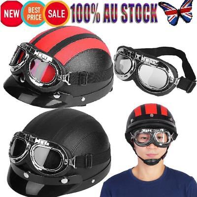 Motorcycle Scooter Leather Open Face Half Helmet & Visor UV Goggle Universal AU