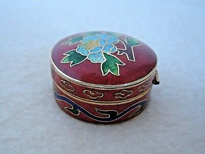 Vintage Red Enamel Floral Cloisonne Pill Snuff Tooth Fairy Trinket Perfume Box