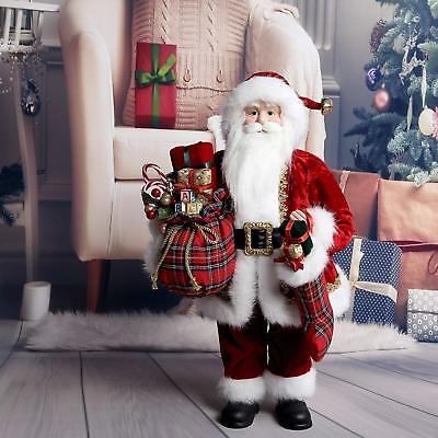48cm Traditional Standing Father Christmas Santa Claus Figure Xmas Decoration