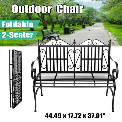 Folable Patio Park Garden Bench Porch Chair Steel Frame Cast Iron Backrest