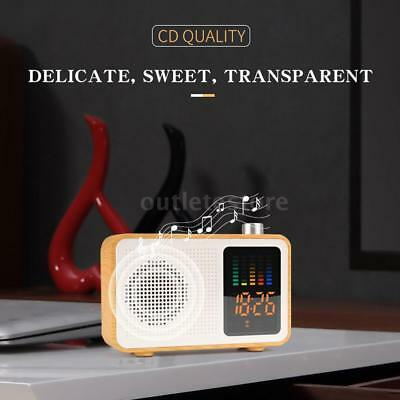 Wireless Bluetooth Speaker Portable Wooden LED Stereo Music Player W/Alarm Clock