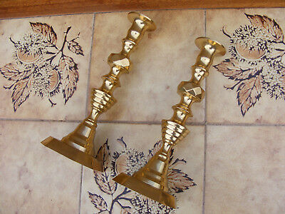 Pair Antique Vintage Victorian Style Brass Candlesticks Candle Holder 25cm Tall