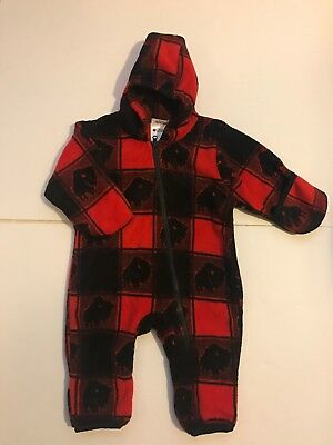 5931a1d65 Baby Infant COLUMBIA Red Plaid Fleece Hooded zip Bunting Size 6 Months  Buffalo