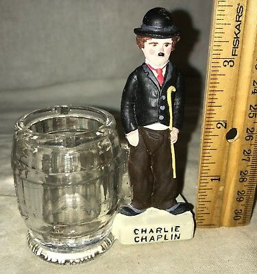 Antique Charlie Chaplin Glass Candy Container Vintage Borgfeldt Co New York Old