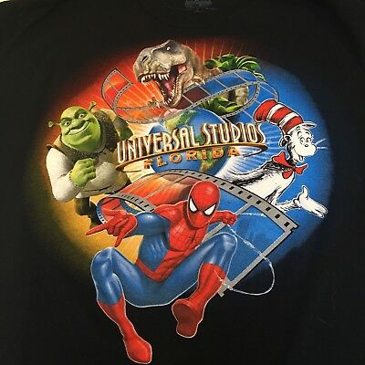 Universal Studios Florida T Shirt Adult Large Shrek Spiderman Cat In Hat Dinosau