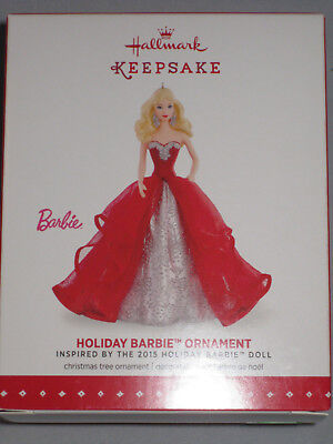 Hallmark Christmas Ornament Holiday Barbie #1 in Series 2015 Red and Silver Gown