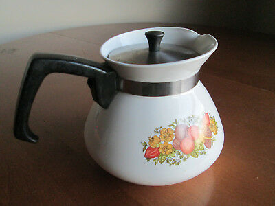 """Vintage Corning Ware """"Spice of Life"""" Coffee / Tea Pot P-104 With Metal Lid, 900m"""