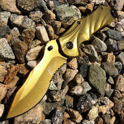 "8"" Knife Spring Assisted Pocket Open Folding Tactical Alum Handle Gold Color"