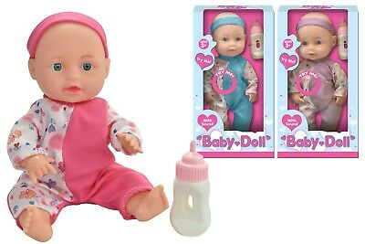 "10"" Baby Doll With Feeding Bottle And Sounds Kids Girls Boys Cuddle Toy Gift  3+"