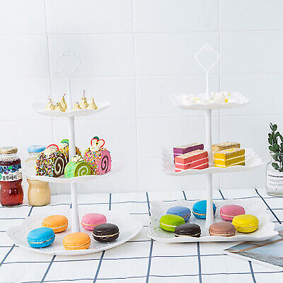 3 Tier White Display Cake Stand Round Square Food Platter Tableware Holder