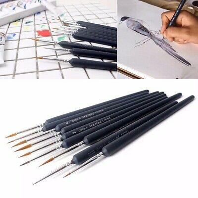 9pcs Artist Weasel Hair Brush Pen for Gouache Watercolor Paint Oil Painting Set