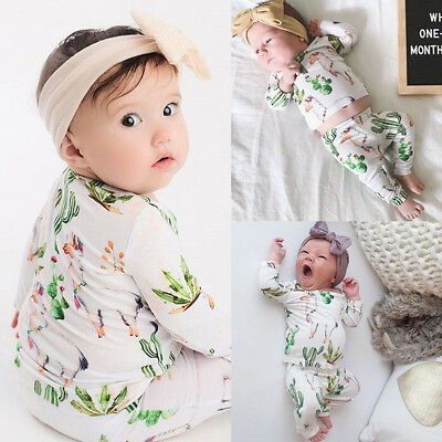 2pcs Toddler Infant Baby Boy Girl Floral Clothes T-shirt Tops +Pants Outfits Set