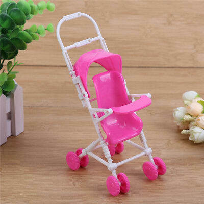 Plastic Baby Carriage Stroller Trolley For Barbie Doll Nursery Furniture 2pcs