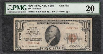 1929 $10 The Chase National Bank City of New York NY - PMG Very Fine VF 20 - C2C