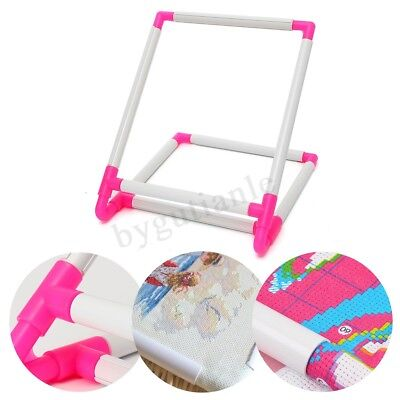 New Rectangle Clip Plastic Embroidery Frame Cross Stitch Hoop Stand Lap