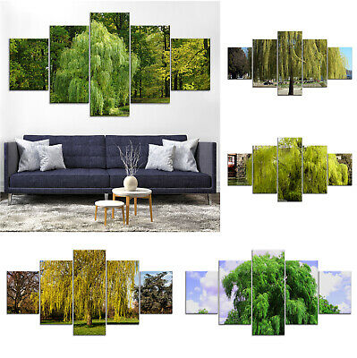 Green Willow Trees Canvas Print Painting Framed Home Decor Wall Art Poster 5Pcs