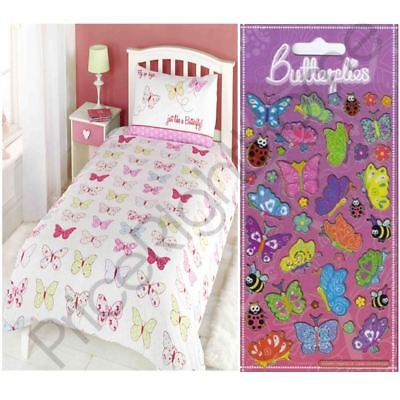 Fly Up High Butterfly Single Duvet Cover Set + Free Butterflies Sparkle Stickers