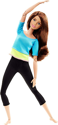 Made to Move Barbie Doll Blue Top Brown Hair Exercise Flexible Model Barbie