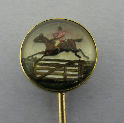 Antique Victorian 18ct Gold Essex Crystal Horse Riding Stickpin Tally Ho Boxed