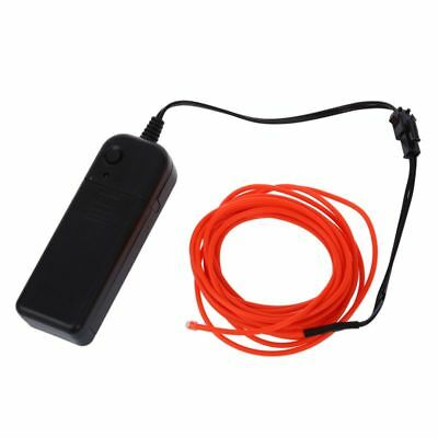 4X(3M Flexible Neon Light EL Wire Rope Tube with Controller (Red) A6A7)