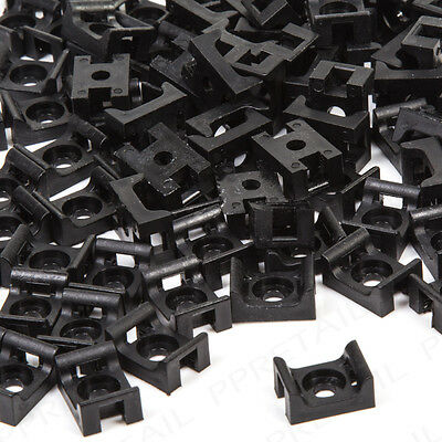 100 x Black Cable Tie Cradles Wall Mounts Wire/Pipe Bases/Saddles Clips Clamps