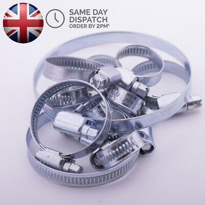 UK Stainless Steel Hose Clips Pipe Clamps Jubilee Type 8mm - 140mm Choose Sizes