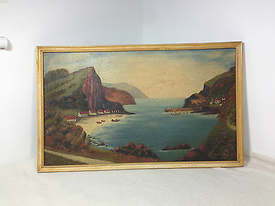 Signed Coastal Oil on board painting Seascape Landscape folk art primitive