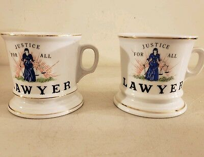Antique Pair LAWYER Justice For All Occupational Porcelain Ceramic SHAVING MUGS