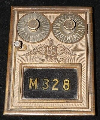 ANTIQUE Brass POST OFFICE BOX DOOR & FRAME, Double Dial & Point Type with Eagle!