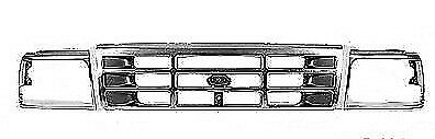 New For FORD F250 F350 F150 BRONCO Grille Headlight Door Dark Argent 3pc 1992-96
