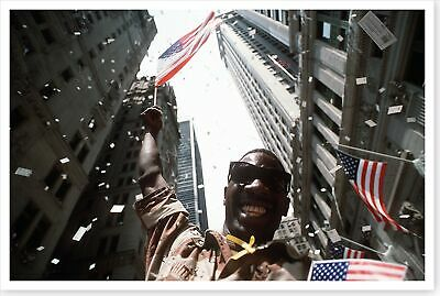 Army Soldier Waving Flag At Desert Storm NYC Welcome Home Parade 8 x 12 Photo