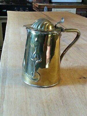 JS&S Arts & Crafts Joseph Sankey Brass  Lidded Jug Circa 1903