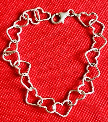 🎄silver Eternal Heart-Bracelet Solid Round Links 925 Marked 7.4In Ideal Xmas 🎁