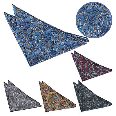 DQT Woven Floral Royal Paisley Formal Wedding Mens Handkerchief Pocket Square