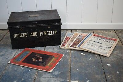 Antique 19th Century Deed Box with Six copies of the Illustrated London News