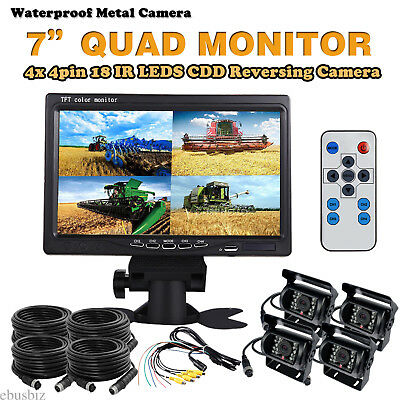 """7"""" QUAD SPLIT SCREEN MONITOR+ HD 4x BACKUP REAR VIEW CCD CAMERA SYSTEM FOR TRUCK"""