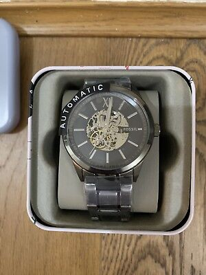 Bnwt Fossil Mens Anthracite Grey Colour Metal Strap Automatic Watch Bq2384