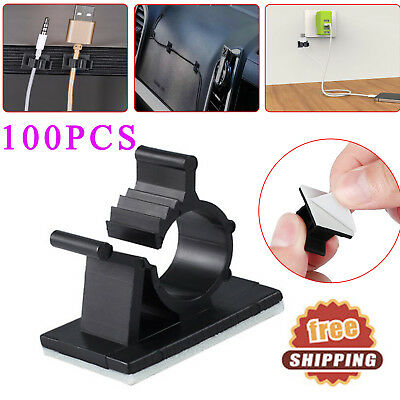 100PCS Cable Clips Self Adhesive Adjustable Wire Cable Ties Clamps Sticker Clamp