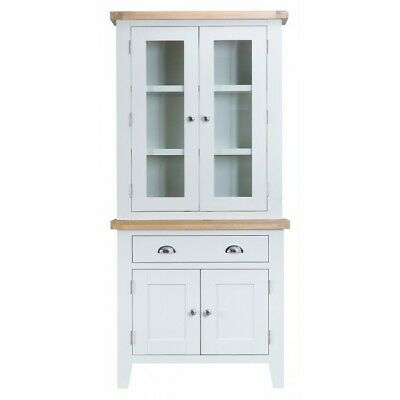 Tenby White Painted Furniture Small Sideboard Cupboard Dresser Top Hutch Set
