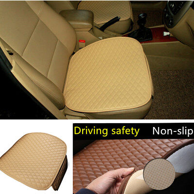 1x Car Front Seat Cover Cushion Pad Mat Beige Breathable PU Leather Four Season