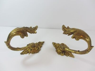 Antique Brass Curtain Tie Backs Hooks French Rococo Baroque Old Urn Gilt Leaf