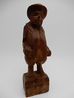 Vintage Swiss Wood Block Hand Carved Wood Man with Hat Figurine Statue 6 3/4 In