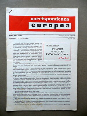 Corrispondenza Europea Pino Rauti Supplemento a L' Alternativa Num. 10 7/4/1978
