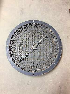 "Antique Gothic Cast Iron Round Heat Grate Register Cold Air Return 20"" 500-18C"