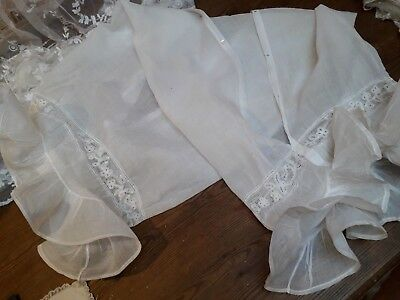 Antique Cotton Lawn Lace Bolster Pillow Case Fabric Victorian Original Sheer Whi
