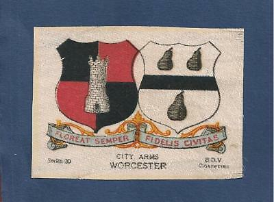 WORCESTER CITY beautifully printed silk Coat of Arms WORCESTRIANS 1918