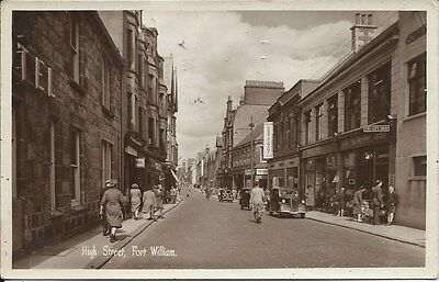FORT WILLIAM High Street early RP Postcard Shops Cars Inverness-shire