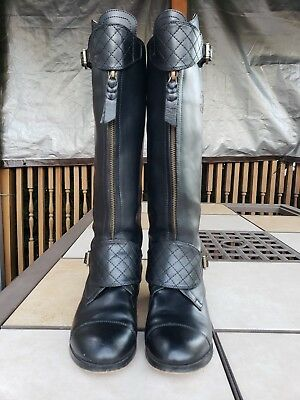 PRADA WOMEN S BLACK Stivale Camoscio Suede Knee Height Boots Size 37 ... 51afb3b6a783