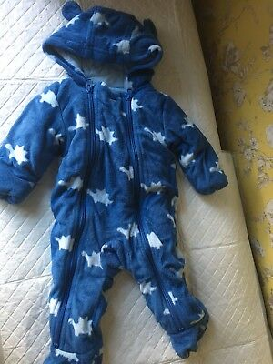 8743898e4 MARKS AND SPENCER M S Baby Boy Snow Suit Pram Suit All In One 0-3 ...