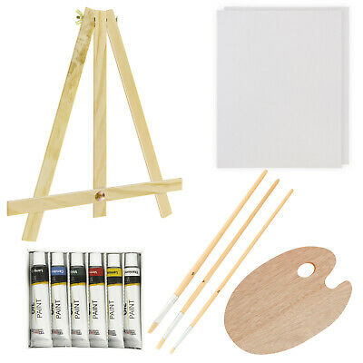US Art Supply 13 Piece Oil Painting Set with Mini Table Easel Canvas, 6 Colors